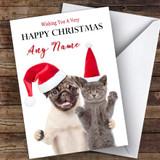 Pug Dog & Cat In Hat Animal Customised Christmas Card