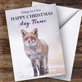 Red Fox In Snowstorm Animal Customised Christmas Card