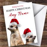 Two Meerkats In Hats Animal Customised Christmas Card