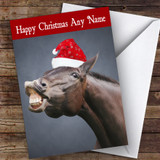 Funny Smiling Horse Animal Customised Christmas Card