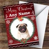Pug Dog Traditional Animal Customised Christmas Card