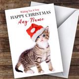Tabby Kitten In Hat Animal Customised Christmas Card