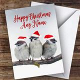 Three Birds In Hats Animal Customised Christmas Card