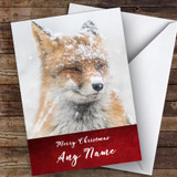 Snowy Red Fox Animal Customised Christmas Card