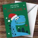 Blue Dinosaur Children's Customised Christmas Card