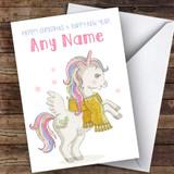 Cute Unicorn Children's Customised Christmas Card