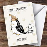 Penguin & Snowman Snowflake Cute Customised Christmas Card