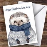 Warm Xmas Jumper Hedgehog Cute Customised Christmas Card