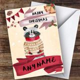 Watercolour Snowy Raccoon Cute Customised Christmas Card