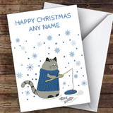 Cat Fishing Snowflakes Cute Customised Christmas Card