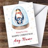 Penguins In Snow Globe Cute Customised Christmas Card