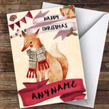 Watercolour Snowy Fox Cute Customised Christmas Card