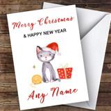 Cute Cat Watercolour Cute Customised Christmas Card