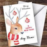 Watercolour Reindeer Cute Customised Christmas Card