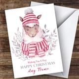 Watercolour Alpaca Cute Customised Christmas Card