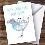 Ice Skating Horse Cute Customised Christmas Card