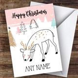 Cute Doodle Deer Cute Customised Christmas Card