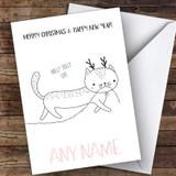 Holly Jolly Cat Cute Customised Christmas Card