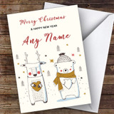 Bear & Deer Cute Customised Christmas Card