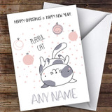 Playful Cat Cute Customised Christmas Card