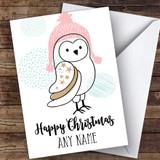 Owl In Hat Cute Customised Christmas Card