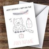 Happy Cat Cute Customised Christmas Card