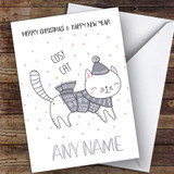 Cosy Cat Cute Customised Christmas Card