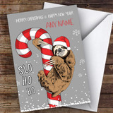 Sloth & Candy Cane Funny Joke Customised Christmas Card
