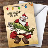 Fishing Santa With Big Catch Hobbies Customised Christmas Card