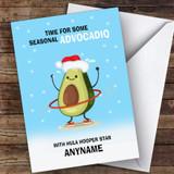 Hula Hooping Funny Avocadio Hobbies Customised Christmas Card