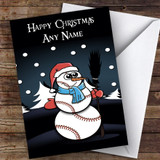 Baseball Snowman Night Hobbies Customised Christmas Card
