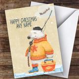 Bear With Fishing Gear Hobbies Customised Christmas Card