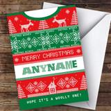 Knitting Woolly Jumper Hobbies Customised Christmas Card