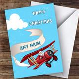 Santa Flying Aeroplane Hobbies Customised Christmas Card