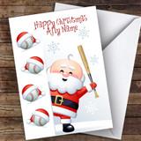 Santa Peeking Baseball Hobbies Customised Christmas Card