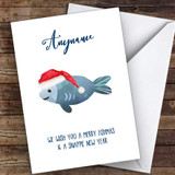 Fishing Funny Fishmas Hobbies Customised Christmas Card