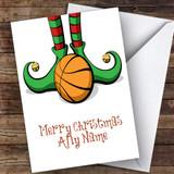 Elf Feet Basketball Hobbies Customised Christmas Card