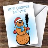 Basketball Snowman Hobbies Customised Christmas Card