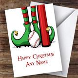 Elf Feet Baseball Hobbies Customised Christmas Card