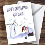 Snowmen Fishing Hobbies Customised Christmas Card