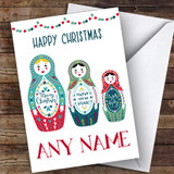 Babushka Russian Nesting Dolls Modern Customised Christmas Card