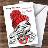 Sloth Drinking Hot Chocolate Modern Customised Christmas Card