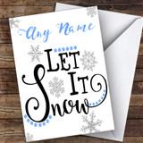Blue Grey Let It Snowflakes Modern Customised Christmas Card