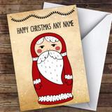 Santa Babushka Russian Doll Modern Customised Christmas Card