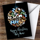 Butterfly Bauble Ornament Modern Customised Christmas Card