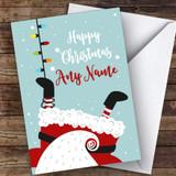 Santa Hanging From Lights Modern Customised Christmas Card