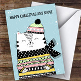 Cute Doodle Cat In Scarf Modern Customised Christmas Card