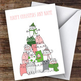 Cat & Kitten Xmas Tree Modern Customised Christmas Card