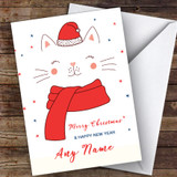 Cat In Hat Heart Nose Modern Customised Christmas Card