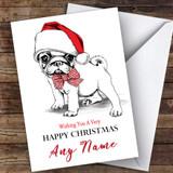Doodle Pug Dog In Hat Modern Customised Christmas Card